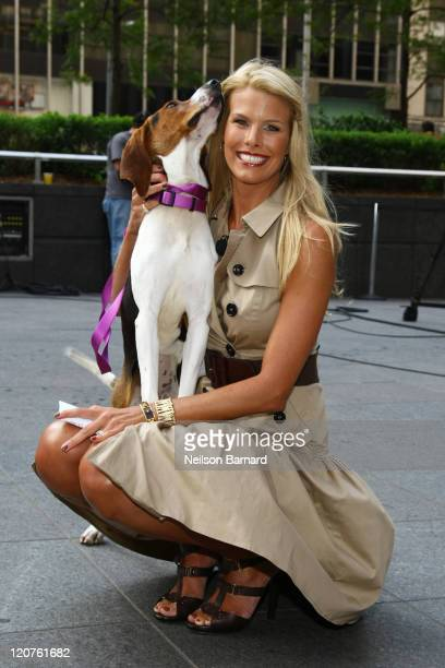 Beth Ostrosky Stern promotes the benefits of adopting a dog from a shelter whilst visiting the set of 'FOX Friends' at FOX Studios on August 9 2011...