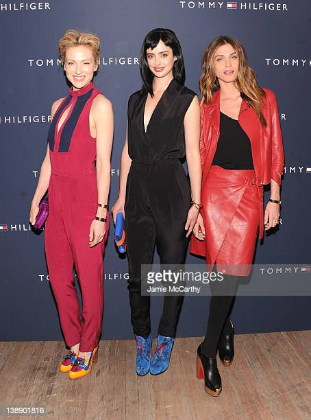 Beth Riesgraf Krysten Ritter and Elisa Sednaoui pose backstage at the Tommy Hilfiger Womens Fall 2012 fashion show during MercedesBenz Fashion Week...