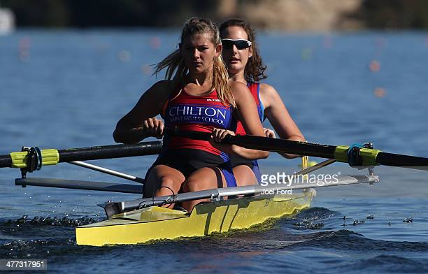 Beth Ross and Ella Pudney of Chilton St James School compete in the final of the girl's U18 coxless pair during the AON North Island Secondary School...