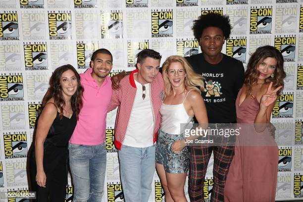 Beth Schwartz Rick Gonzalez Colton Haynes Emily Bett Rickards Echo Kellum and Juliana Harkavy attend the 'Arrow' press line at ComicCon International...