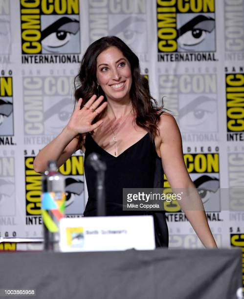 Beth Schwartz walks onstage at the Arrow Special Video Presentation and QA during ComicCon International 2018 at San Diego Convention Center on July...