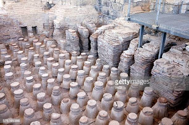 beth shean, the byzantine bathhouse's heating system (hypocaust) - roman decapolis city stock pictures, royalty-free photos & images