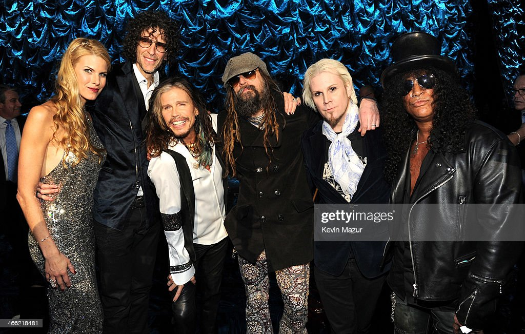 Beth Stern, Howard Stern, Steven Tyler, Rob Zombie and Slash onstage at 'Howard Stern's Birthday Bash' presented by SiriusXM, produced by Howard Stern Productions at Hammerstein Ballroom on January 31, 2014 in New York City.