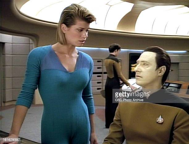 Beth Toussaint as Ishara Yar and Brent Spiner as Lieutenant Commander Data in the STAR TREK THE NEXT GENERATION episode Legacy Season 4 episode 6...