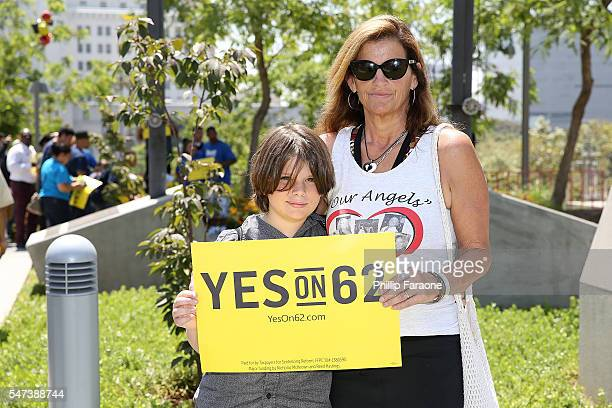 Beth Webb sister of a victim in the Seal Beach hair salon mass shooting and her son attend the Yes on Prop 62 Coalition Announcement at Los Angeles...