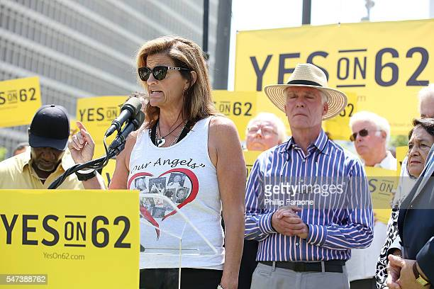 Beth Webb sister of a victim in the Seal Beach hair salon mass shooting speaks on stage during the Yes on Prop 62 coalition announcement at Los...