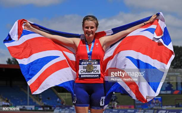 Bethan Davies celebrates winning the women's 5000m race walk during the British Athletics World Championships Team Trials at Birmingham Alexander...