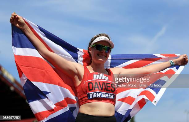 Bethan Davies of Great Britain celebrates winning the Women's 3000m Race Walk during Day Two of the Muller British Athletics Championships at the...