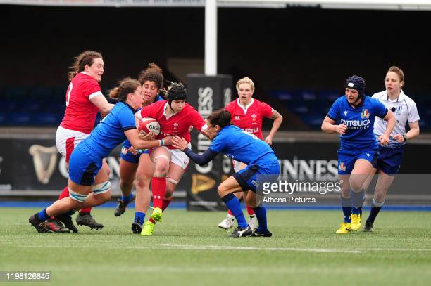 Bethan Lewis of Wales in action during the Womens six nations championship match between the Wales and Italy at Cardiff Arms Park on February 02,...