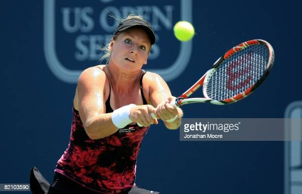 Bethanie Mattek returns to Flavia Pennetta of Italy during Women's Singles Semifinals of the East West Bank Classic Day 6 at Home Depot Center on...