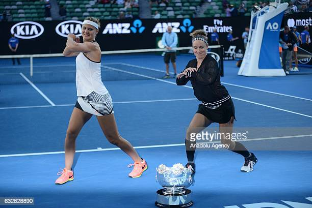 Bethanie Mattek Sands of the United States and Lucie Safarova of the Czech Republic celebrate after their Women's Doubles Final match against Andrea...
