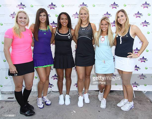 Bethanie Mattek Sands Sorana Cirstea Heather Watson Sabina Lisicki Dominika Cibulkova and Alize Cornet attend Sony Ericsson Launches Xperia Hot Shots...