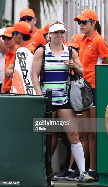 Bethanie Mattek Sands steps onto the court to play Alize Cornet of France during Day 3 of the Miami Open at the Crandon Park Tennis Center on March...