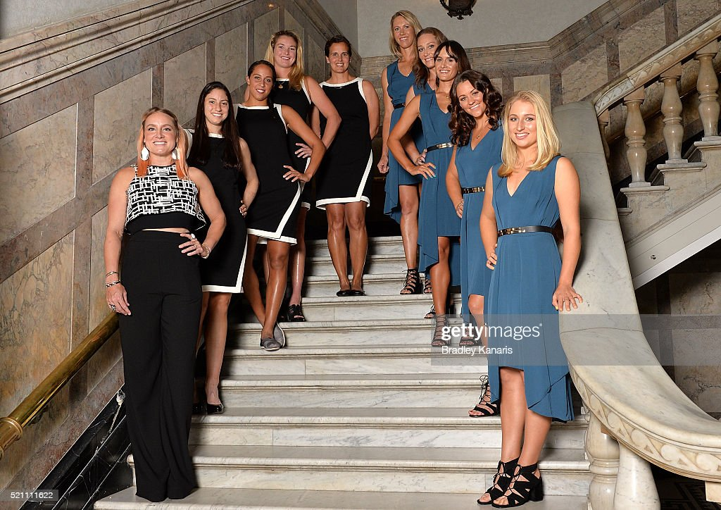 Bethanie Mattek-Sands, Christina McHale, Coco Vandeweghe, Mary Joe Fernandez, Alicia Molik, Samantha Stosur, Arina Rodionova, Casey Dellacqua and Daria Gavlirova pose for a photo during the Fed Cup Official Dinner on April 14, 2016 in Brisbane, Australia.