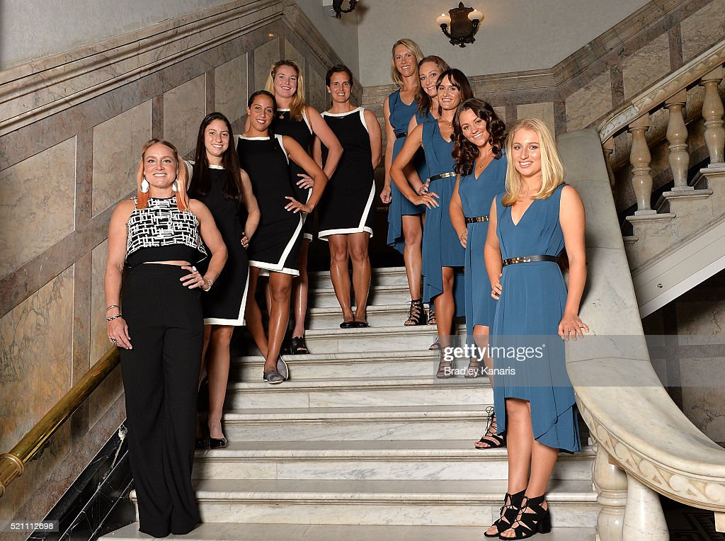 Bethanie Mattek-Sands, Christina McHale, Madison Keys, Coco Vandeweghe, Mary Joe Fernandez, Alicia Molik, Samantha Stosur, Arina Rodionova, Casey Dellacqua and Daria Gavlirova pose for a photo during the Fed Cup Official Dinner on April 14, 2016 in Brisbane, Australia.
