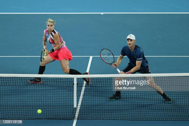 Bethanie MattekSands of the United States and Jamie Murray of Great Britain play in their Mixed Doubles Semifinals match against Astra Sharma and...