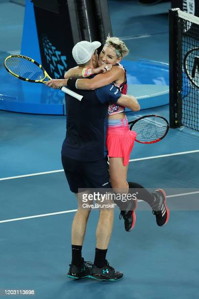 Bethanie MattekSands of the United States and Jamie Murray of Great Britain celebrate winning their Mixed Doubles Semifinals match against Astra...