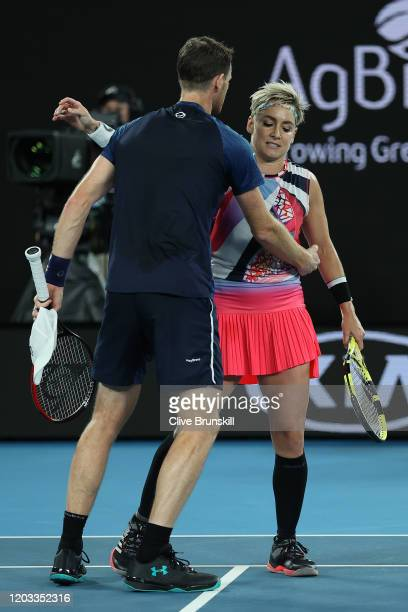Bethanie MattekSands of the United States and Jamie Murray of Great Britain console each other after losing their Mixed Doubles Finals match against...