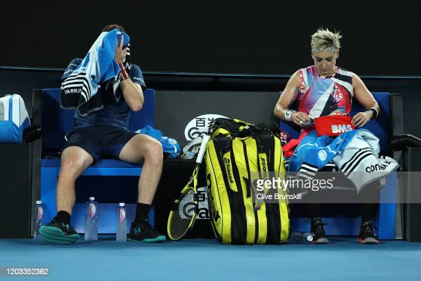 Bethanie MattekSands of the United States and Jamie Murray of Great Britain look dejected after losing their Mixed Doubles Finals match against...