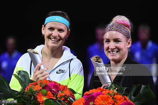 Bethanie Mattek-Sands of the United States and Lucie Safarova of Czech Republic celebrate after their victory in their doubles final match against...
