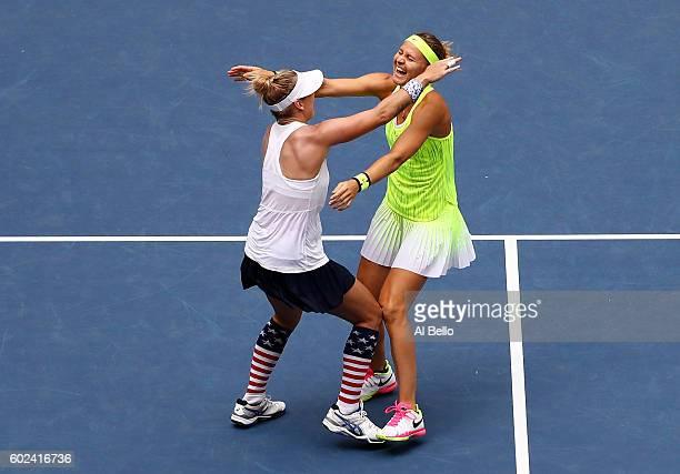 Bethanie Mattek-Sands of the United States and Lucie Safarova of the Czech Republic celebrate defeating Caroline Garcia and Kristina Mladenovic of...