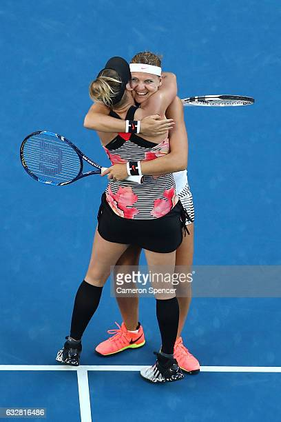 Bethanie MattekSands of the United States and Lucie Safarova of the Czech Republic celebrate championship point in their Women's Doubles Final match...