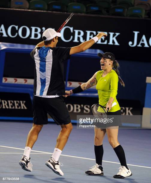 Bethanie MattekSands of the United States of America and Horia Tecau of Romania celebrate after defeating Elena Vesnina of Russia and Leander Paes of...