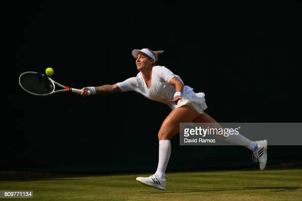 Bethanie MattekSands of The United States plays a forehand during the Ladies Singles second round match against Sorana Cirstea of Romania on day four...