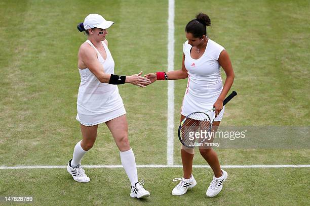 Bethanie MattekSands of the USA and teammate Sania Mirza of India in action during their Ladies' Doubles third round match against Venus and Serena...