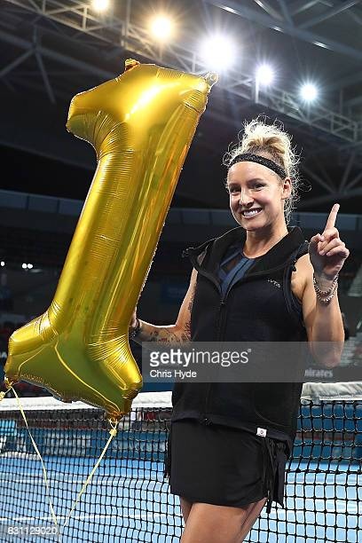 Bethanie MattekSands of the USA celebrates after being announced as the number one Women's Doubles player in the world after her match with Sania...