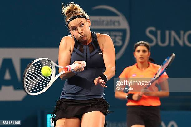 Bethanie MattekSands of the USA plays a forehand in the Women's Doubles Final with Sania Mirza of India against Ekaterina Makarova of Russia and...