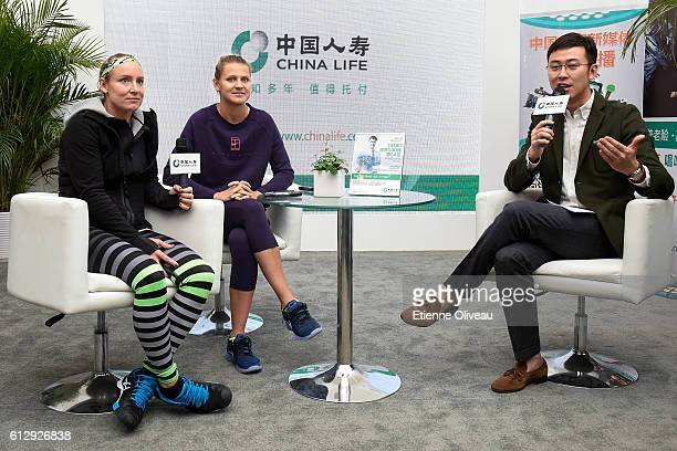 Bethanie MattekSands of United States and Lucie Safarova of Czech Republic take an interview at the China Life Booth on day six of the 2016 China...