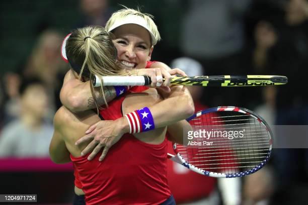 Bethanie MattekSands of USA and Sofia Kenin of USA celebrate after defeating Anastasija Sevastova of Latvia and Jelena Ostapenko of Latvia in the...