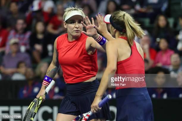 Bethanie MattekSands of USA and Sofia Kenin of USA celebrate while competing against Anastasija Sevastova of Latvia and Jelena Ostapenko of Latvia in...