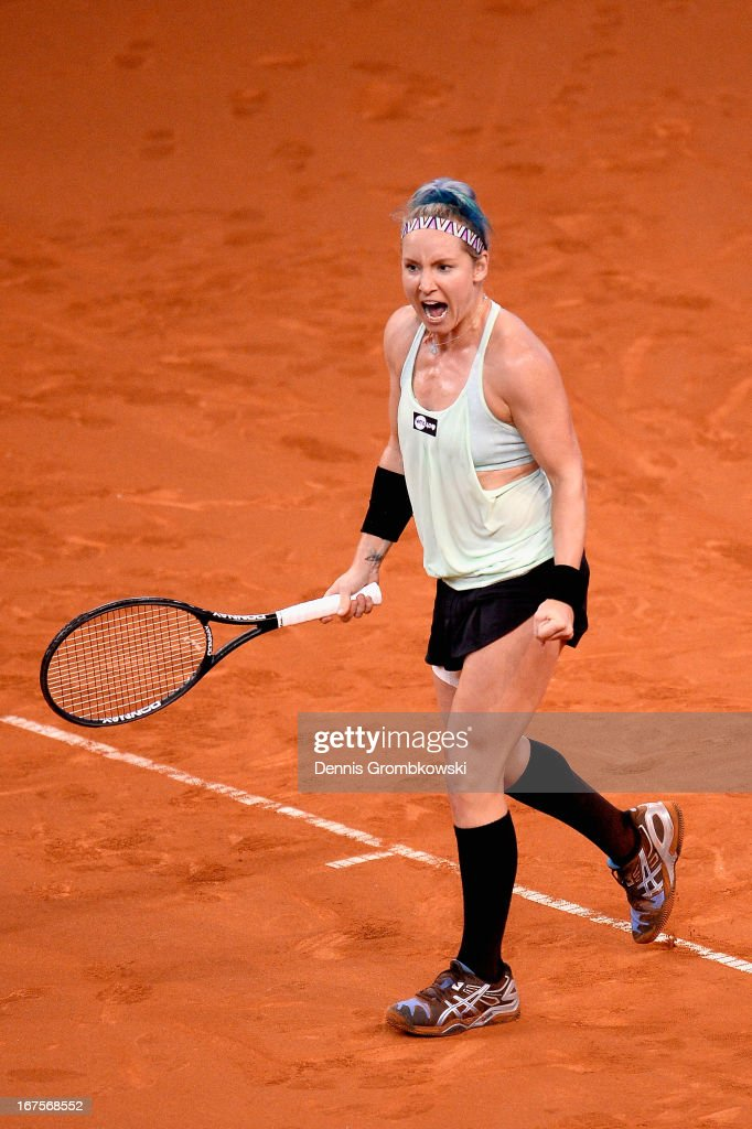 Bethanie Mattek-Sands of USA celebrates after defeating Sabine Lisicki of Germany during Day 5 of the Porsche Tennis Grand Prix at Porsche-Arena on April 26, 2013 in Stuttgart, Germany.