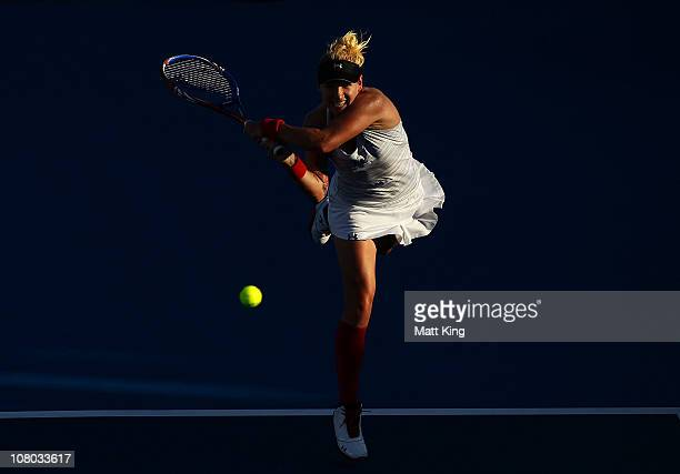 Bethanie MattekSands of USA plays a backhand during her semi final match against Shuai Peng of China during day six of the Moorilla Hobart...