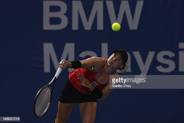 Bethanie Mattek-Sands of USA plays in action during the Singles Final against Karolina Pliskova of Czech Republic during the 2013 BMW Malaysian Open...