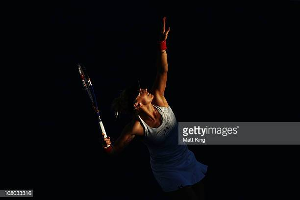 Bethanie MattekSands of USA serves during her semi final match against Shuai Peng of China during day six of the Moorilla Hobart International at the...