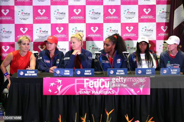 Bethanie MattekSands Sofia Kenin Kathy Rinaldi Serena Williams Coco Gauff and Alison Riske attend their press conference after defeating Team Latvia...