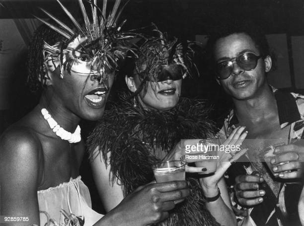 Bethann Hardison Daniela Morera and Stephen Burrows at Studio 54 party for Valentino New York 1977