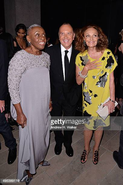 Bethann Hardison Michael Kors and Diane von Furstenberg attend the 2014 CFDA fashion awards at Alice Tully Hall Lincoln Center on June 2 2014 in New...