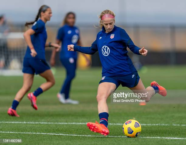 Bethany Balcer of the USWNT takes a shot during a training session at Dick's Sporting Goods Park training fields on October 20 2020 in Commerce City...