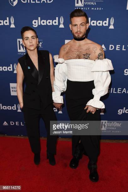 Bethany C Meyers and Nico Tortorella attend the 29th Annual GLAAD Media Awards at The Hilton Midtown on May 5 2018 in New York City