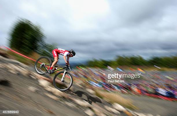 Bethany Crumpton of England rides in the Women's Cross Country Mountain Biking at Cathkin Braes Mountain Bike Trails during day six of the Glasgow...