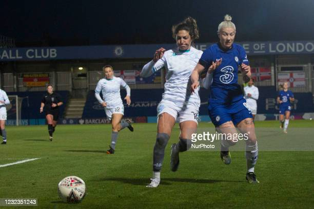 Bethany England controls the ball during the 2020-21 FA Womens Cup fixture between Chelsea FC and London City at Kingsmeadow on April 16, 2021 in...