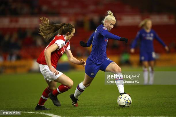 Bethany England of Chelsea battles with Lisa Evans of Arsenal during the FA Women's Continental League Cup Final Chelsea FC Women and Arsenal FC...