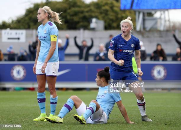 Bethany England of Chelsea celebrates after scoring her sides first goal during the Barclays FA Women's Super League match between Chelsea and...