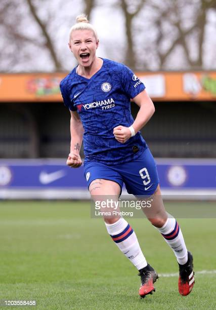 Bethany England of Chelsea celebrates after scoring her sides second goal during the Barclays FA Women's Super League match between Chelsea and West...