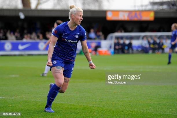 Bethany England of Chelsea celebrates after scoring her team's first goal during the FA Women's Super League match between Chelsea Women and Everton...