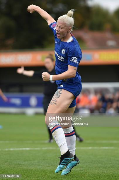 Bethany England of Chelsea celebrates after scoring her team's first goal during the Continental Tyres Cup Group D match between Chelsea Women and...